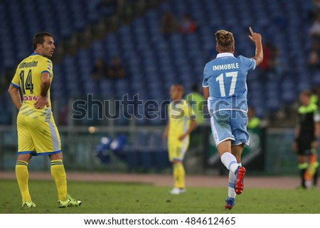 Rome, Italy 17 september 2016:   Ciro Immobile score the gol during the italian Serie A league match between As Lazio and Pescara at Olimpic Stadium on Seprember 17, 2016 in Rome  Italy.