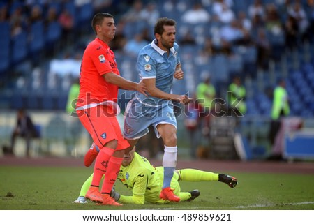 Rome, Italy 25 september, 2016: Lulic score the gol during the match Serie A league  between Lazio vs Empoli in Olimpic stadium in Rome on September 2016.