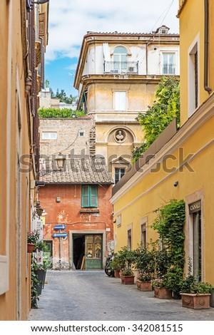 ROME, ITALY - September 15, 2015 - Old Italian street - stock photo
