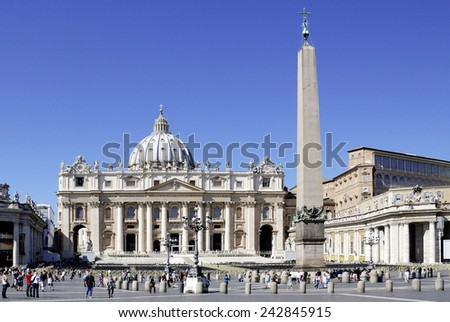 Rome, Italy - September 21, 2011: People in Saint Peters square in front of Saint Peters Basilica at the Vatican in Rome. - stock photo