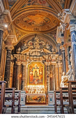 ROME, ITALY - SEPTEMBER 03, 2015: Santa Maria sopra Minerva is one of the major churches of the Dominicans at Rome, Italy, September 03, 2015.