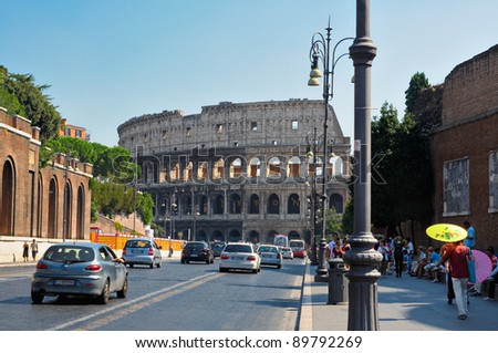ROME, ITALY - SEPTEMBER 15, 2011: The Coliseum, is an elliptical amphitheater on September 15, 2011 in the centre of the city of Rome, Italy, the largest ever built in the Roman Empire. - stock photo