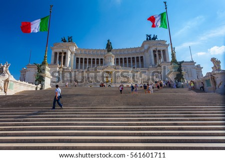 ROME, ITALY - September  13, 2016: View on the National Monument to Victor Emmanuel II - first king of a unified Italy in Rome, in Piazza Venezia