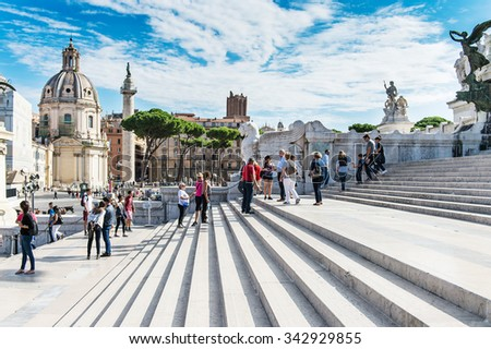 ROME, ITALY - September 15, 2015 - Vittorio Emanuele II, the museum complex on the Piazza Venezia in Rome, Italy - stock photo