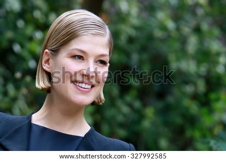 ROME, ITALY - 11 Septemper 2014: Actress Rosamund Pike: Photocall for the movie Gone Girl at the Hotel De Russie in Rome