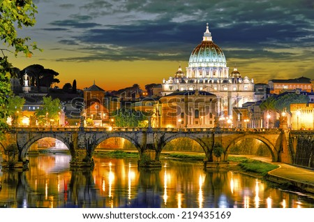 Rome, Italy, St. Peter's cathedral. - stock photo