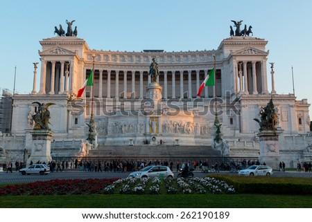 ROME, ITALY - 11TH MARCH 2015: Piazza Venezia and Vittoriano Emanuele Monument - stock photo