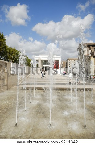 Rome, Italy - The Ara Pacis Augustae framed by water jets