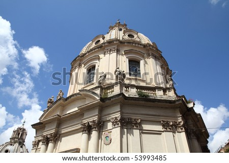 Rome, Italy. The Church of the Most Holy Name of Mary at the Trajan Forum (Italian: Santissimo Nome di Maria al Foro Traiano). - stock photo