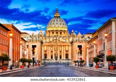 Rome, Italy. The Papal Basilica of Saint Peter in the Vatican (Italian: Basilica Papale di San Pietro in Vaticano) - stock photo