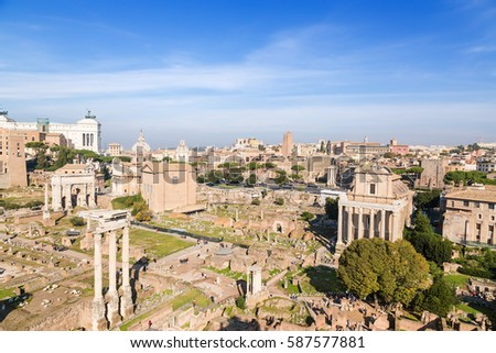 Rome, Italy. The ruins of the Roman and Imperial Forum
