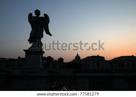 Rome, Italy. View of famous Sant' Angelo Bridge. River Tevere. Sunset light. - stock photo