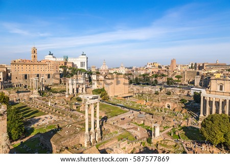 Rome, Italy. View of ruins of the Roman and Imperial forums from Palatine Hill