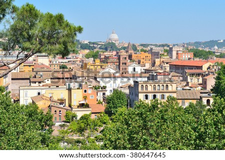 Rome, Italy. View of the city from the hill Aventine
