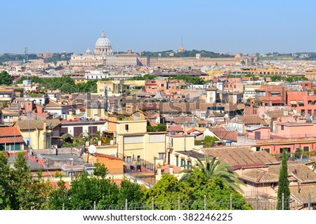 Rome, Italy. View of the city from the hill Pincio
