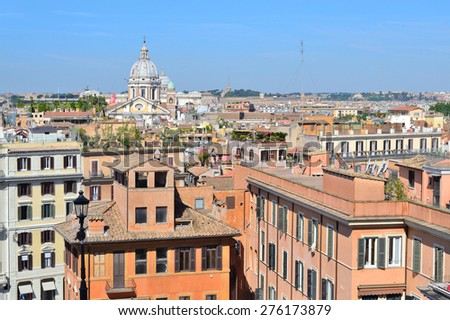 Rome, Italy. View of the city from the Spanish Steps
