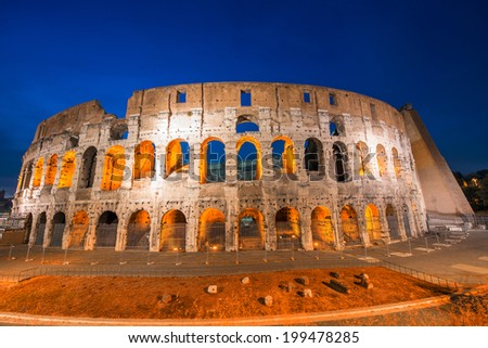 Rome, Italy. Wonderful view of Colosseum at dusk. - stock photo