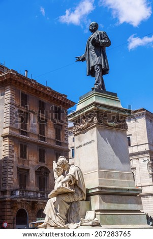 ROME - JULY 02: monument of Marco Minghetti on July 02, 2014 in Rome. He lived from 1818 - 1886 and was an important politician in that time. The monument is located at the  Corso Vittorio Emanuele II