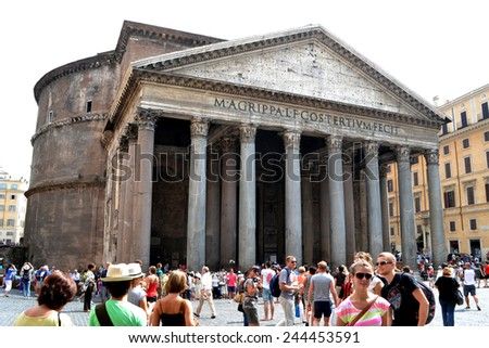 ROME-JULY 21:  Pantheon on july 21, 2013 in Rome, Italy - stock photo