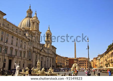 ROME - JULY 8: Tourists visit Piazza Navona on July 8, 2011 in Rome, Italy. Piazza Navona  is one of the most famous squares of Rome - stock photo