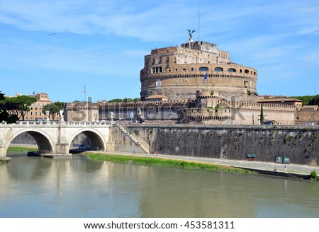 ROME - JUNE 19 2016: Castel Sant'Angelo was initially commissioned by the Roman Emperor Hadrian as a mausoleum and later used by the popes as a fortress and castle, and is a museum now.