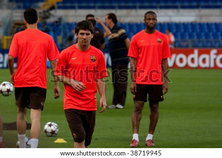 ROME - JUNE 26: Champions league final in Rome. Barcelona and Manchester United are attending for training on June 26, 2009 at Olympic stadium in Rome, Italy. - stock photo