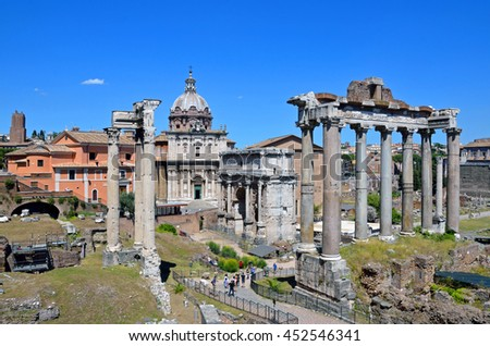 ROME - JUNE 18 2016: Foro Romano is an archaeological sites surrounded by the ruins of ancient government buildings and is situated between the Palatine and Capitoline hills.