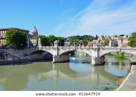 ROME - JUNE 19 2016: Ponte Vittorio Emanuele II is a bridge across the Tiber and  108 meters long.