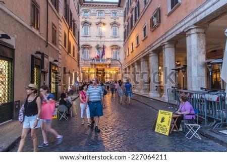 ROME - JUNE 24: Street next to Piazza Navona on June 24, 2014 in Rome. Piazza Navona is a city square in Rome, Italy. - stock photo