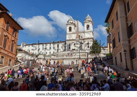 Rome, Lazio, Italy - October 08, 2015: Spanish steps at the Piazza di Spagna - stock photo
