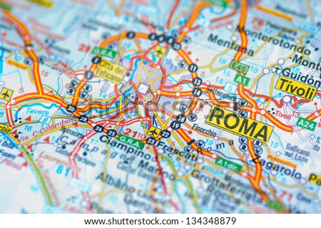Rome map - stock photo