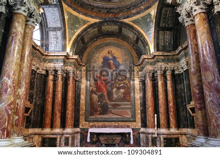 ROME - MAY 12: Interior of Basilica of Santa Maria del Popolo on May 12, 2010 in Rome, Italy. The church dates back to 1099. - stock photo