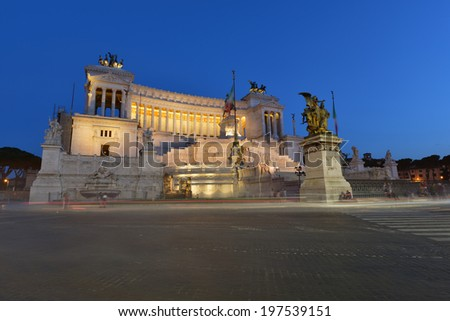Rome, National Monument of Victor Emmanuel II - stock photo