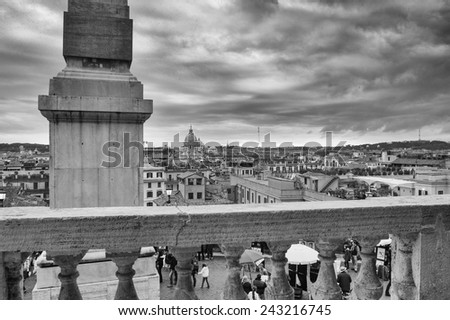 ROME - NOV 1: The Spanish Steps, seen from Piazza di Spagna on November 1, 2012 in Rome. The Spanish Steps are the widest staircase in Europe - stock photo