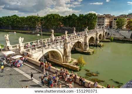 ROME - OCTOBER 2: Ponte Sant'Angelo (Aelian Bridge) on october 2, 2012 in Rome. This is a pedestrian bridge over the Tiber, built in 134-139 years by the Roman emperor Hadrian. - stock photo