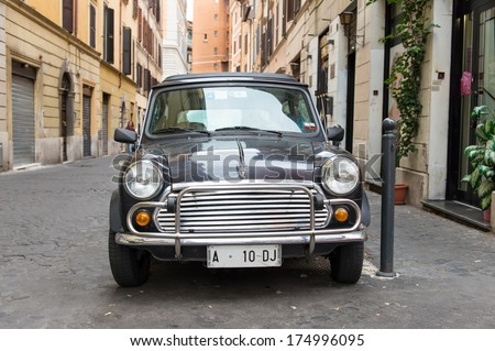 ROME - OCTOBER 20: Retro Mini cooper parked on October 20, 2013 in Rome,Italy - stock photo
