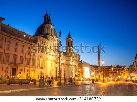 Rome Piazza Navona square illuminated at night - stock photo