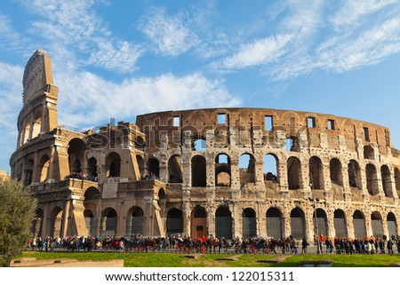 Rome, ruins of the Colosseum - stock photo