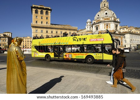 ROME'S HISTORIC CENTER- FEBRUARY 19: A street artist performs for tourists, February 19, 2011 in Rome, Italy. - stock photo