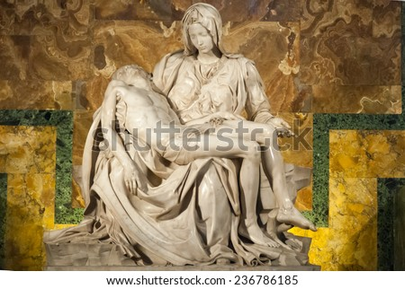 ROME-SEP 29: Michelangelo's Pieta in St. Peter's Cathedral on SEP 29, 2010. More than four million pilgrims and tourists visit the Vatican each year. - stock photo