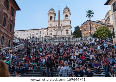 Rome - SEP 21: Stairways from Piazza Spagna, September 21, 2013 in Rome, Italy. Annually celebrated on the fashion they Donne Sotto le Stelle. It is one of the liveliest places in town. - stock photo