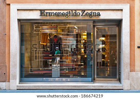 ROME - SEPTEMBER 18: Ermenegildo Zegna store window and entrance at Via dei Condotti in Rome, Italy on September 18, 2013. Founded in 1910 it is one of the biggest global producers of fine fabrics. - stock photo