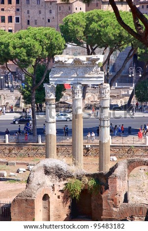 ROME - SEPTEMBER 17: The Roman Forum area on September 17, 2011 in Rome. The Temple of Castor and Pollux was originally built in gratitude for victory at the Battle of Lake Regillus (495 BC). - stock photo