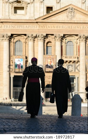 Rome - silhouetts of monsignors for st. Peters basilica