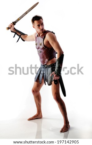 Rome soldier with sword on white background - stock photo