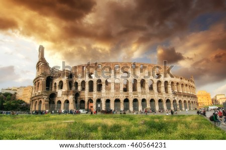 Rome, The Colosseum. Beautiful view with colorful spring sky. Roma, Il Colosseo.