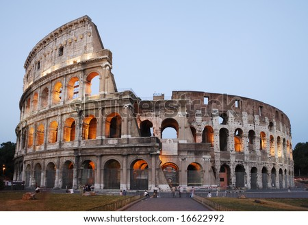 Rome, the Colosseum viewed at dusk. - stock photo