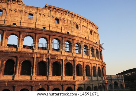 Rome, the Colosseum viewed at sunset.