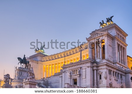 Rome, the Eternal City - Piazza Venezia before Sunrise at the Blue Hour. Unique Light. Travel HDR Photography - stock photo