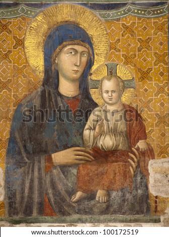 Rome -  The Most Holy Mother of God. Basilica di Santa Maria in Ara Coeli. Pietro Cavallini, 13th century - stock photo